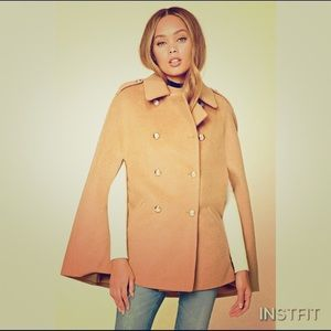 NWT!!! Camel wool blend cape coat